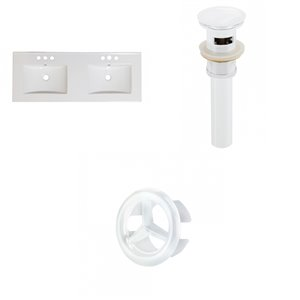 American Imaginations Xena 59-in White Ceramic 4-in Centerset Vanity Top Set White Sink Drain and Overflow Cap
