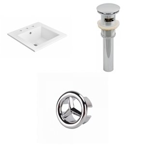 American Imaginations 21 x 21-in White Ceramic Widespread Vanity Top Set Chrome Sink Drain and Overflow Cap