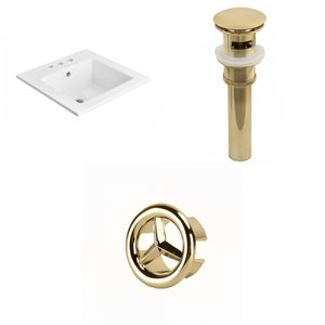 American Imaginations 21 x 21-in White Ceramic Widespread Vanity Top Set Gold Sink Drain and Overflow Cap
