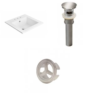 American Imaginations 21 x 21-in White Ceramic Widespread Vanity Top Set Brushed Nickel Sink Drain and Overflow Cap