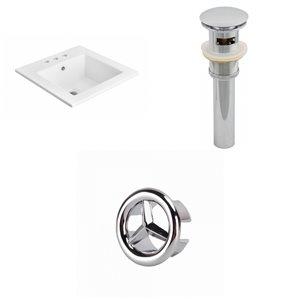 American Imaginations 21-in White Ceramic Centerset Vanity Top Set Chrome Sink Drain and Overflow Cap