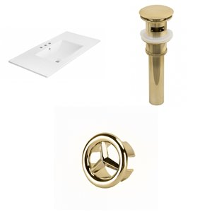 American Imaginations 35.5-in White Ceramic Whidespread Vanity Top Set Gold Sink Drain and Overflow Cap