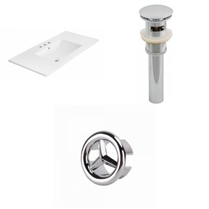 American Imaginations 35.5-in White Ceramic Whidespread Vanity Top Set Chrome Sink Drain and Overflow Cap