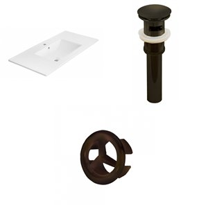 American Imaginations 35.5-in White Ceramic Single Hole Vanity Top Set Oil Rubbed Bronze Sink Drain and Overflow Cap