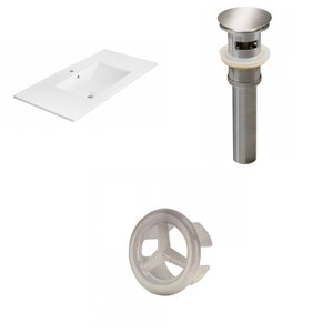 American Imaginations 35.5-in White Ceramic Single Hole Vanity Top Set Brushed Nickel Sink Drain and Overflow Cap