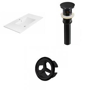 American Imaginations 35.5-in White Ceramic Single Hole Vanity Top Set Black Sink Drain and Overflow Cap