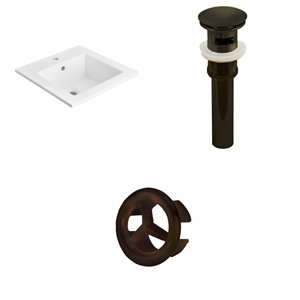 American Imaginations 21-in White Ceramic Single Hole Vanity Top Set Oil Rubbed Bronze Sink Drain and Overflow Cap