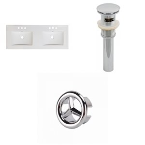 American Imaginations 48-in Dual Centreset White Ceramic Vanity Top Set With Chrome Overflow Cap And Sink Drain