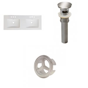 American Imaginations 48-in Dual Centreset White Ceramic Vanity Top Set With Brushed Nickel Overflow Cap And Sink Drain