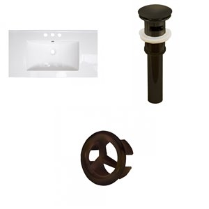 American Imaginations Flair 32-in White Ceramic Vanity Top Set with Oil Rubbed Bronze Drain and Overflow Cap