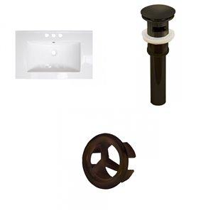 American Imaginations 21.5 x 18.5-in White Ceramic Centerset Vanity Top Set Oil Rubbed Bronze Sink Drain Overflow Cap