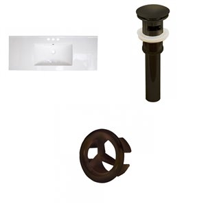 American Imaginations 48-in White Centreset Ceramic Top Set With Oil Rubbed Bronze Overflow Cap And Sink Drain