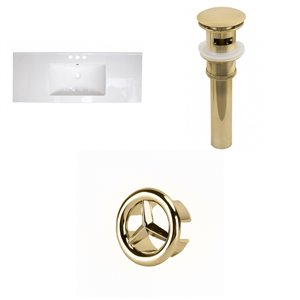 American Imaginations 48-in White Centreset Ceramic Top Set With Gold Overflow Cap And Sink Drain