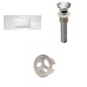 American Imaginations 48-in White Centreset Ceramic Top Set With Brushed Nickel Overflow Cap And Sink Drain