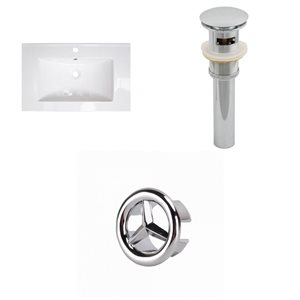 American Imaginations 23.75-in White Ceramic Single Hole Vanity Top Set Chrome Sink Drain Overflow Cap