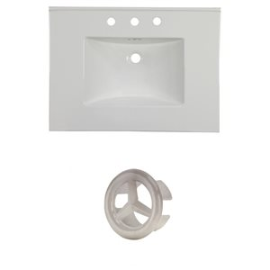 American Imaginations Flair 30.75-in White Ceramic Vanity Top Set with Brushed Nickel Overflow Cap
