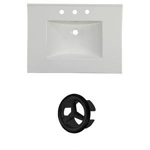American Imaginations Flair 30.75-in White Ceramic Vanity Top Set with Black Overflow Cap