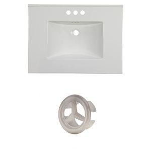 American Imaginations Flair 30.75-in White Ceramic Vanity Top Set with Brushed Nickel Overflow Cap
