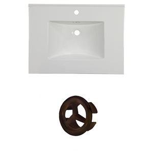 American Imaginations Flair 30.75-in White Ceramic Vanity Top Set with Oil Rubbed Bronze Overflow Cap