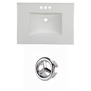 American Imaginations Flair 30.75-in White Ceramic Vanity Top Set with Chrome Overflow Cap