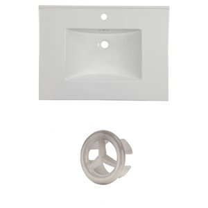American Imaginations Flair 30.75-in White Ceramic Vanity Top Set with Brushed Nickel Overflow Cap Single Hole