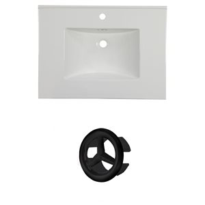 American Imaginations Flair 30.75-in White Ceramic Vanity Top Set with Black Cap Single Hole