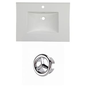 American Imaginations Flair 30.75-in White Ceramic Vanity Top Set with Chrome Cap Single Hole