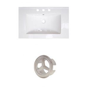 American Imaginations 24-in White Ceramic Centerset Vanity Top Set Brushed Nickel Overflow Cap