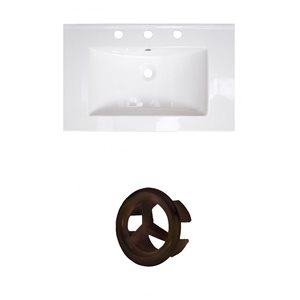 American Imaginations 24-in White Ceramic Centerset Vanity Top Set Oil Rubbed Bronze Overflow Cap
