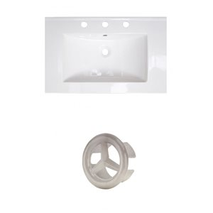 American Imaginations 24-in White Ceramic Centerset Vanity Top Set Brushed Nickel Overflow Cap