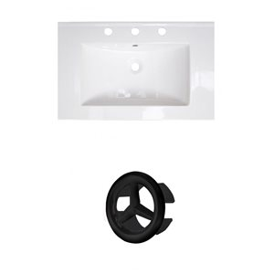 American Imaginations 24-in White Ceramic Centerset Vanity Top Set Black Overflow Cap