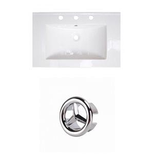 American Imaginations 24-in White Ceramic Centerset Vanity Top Set Chrome Overflow Cap
