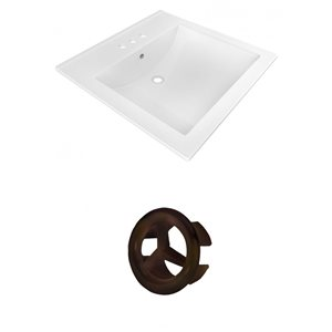 American Imaginations 21.5-in White Ceramic Vanity Top Set With Oil Rubbed Bronze Overflow Cap