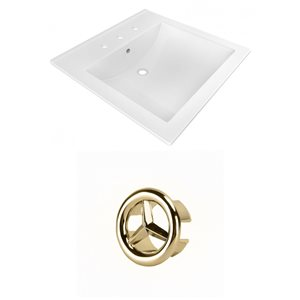 American Imaginations 21.5-in White Ceramic Vanity Top Set, Centerset Gold Overflow Cap