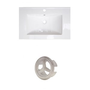 American Imaginations 24-in White Ceramic Single Hole Vanity Top Set  Brushed Nickle Overflow Cap