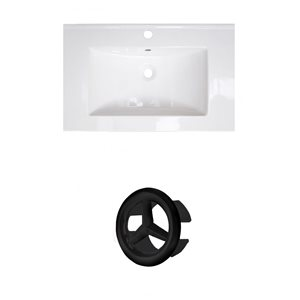 American Imaginations 24-in White Ceramic Single Hole Vanity Top Set  Black Overflow Cap