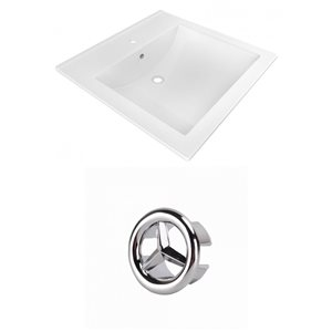 American Imaginations 21.5-in White Ceramic Vanity Top Set Single Hole Chrome Overflow Cap