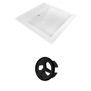 American Imaginatioins 21.5-in White Ceramic Vanity Top Set Single Hole Black Overflow Cap