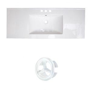 American Imaginations Flair 48.75-in White Ceramic Widespread Vanity Top Set White Overflow Cap