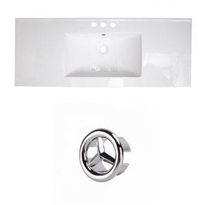 American Imaginations Flair 48.75-in White Ceramic Widespread Vanity Top Set Chrome Overflow Cap