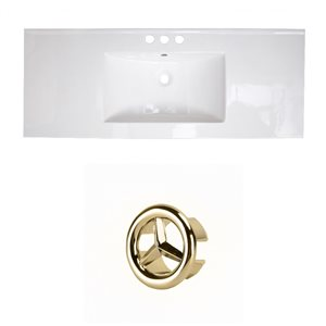 American Imaginations Flair 48.75-in White Ceramic 4-in Centerset Vanity Top Set Gold Overflow Cap