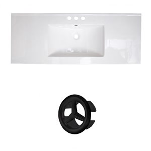 American Imaginations Flair 48.75-in White Ceramic 4-in Centerset Vanity Top Set Black Overflow Cap