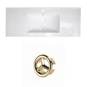 American Imaginations Flair 48.75-in White Ceramic Single Hole Vanity Top Set Gold Overflow Cap