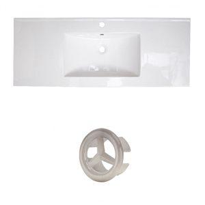 American Imaginations Flair 48.75-in White Ceramic Single Hole Vanity Top Set Brushed Nickel Overflow Cap