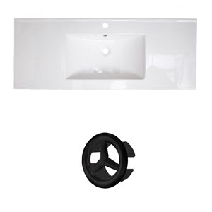 American Imaginations Flair 48.75-in White Ceramic Single Hole Vanity Top Set Black Overflow Cap