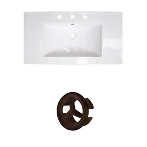 American Imaginations Flair 36.75-in White Ceramic Top Set with Oil Rubbed Bronze Overflow Cap