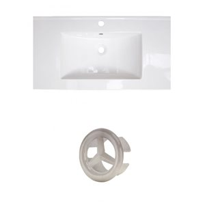 American Imaginations Flair 36.75-in White Ceramic Top Set with Brushed Nickel Overflow Cap