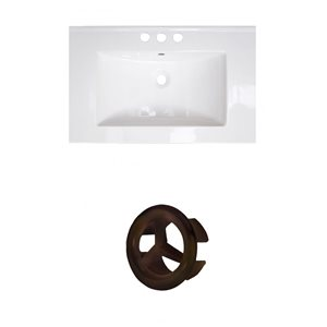 American Imaginations Flair 25-in White Ceramic Vanity Top with White Ceramic Vanity Top with Oil Rubbed Bronze Overflow Cap