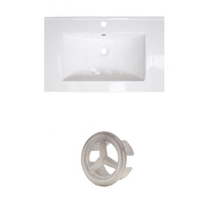 American Imaginations Flair 25-in White Ceramic Vanity Top Set with Brushed Nickel Overflow Cap Single Hole
