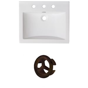 American Imaginations 21-in White Ceramic Centerset Vanity Top Set Oil Runbbed Bronze Overflow Cap